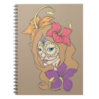 Female Skull with Hibiscus Spiral Notebook