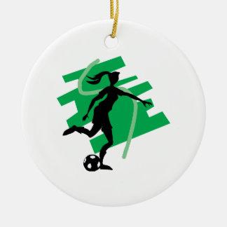 Female Soccer Christmas Ornament
