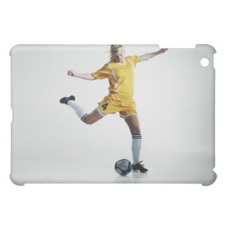 Female soccer player preparing to kick soccer iPad mini cover