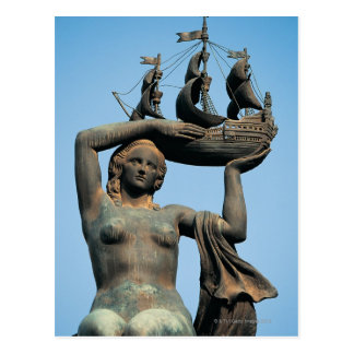 Female statue holding ship, Barcelona Postcard
