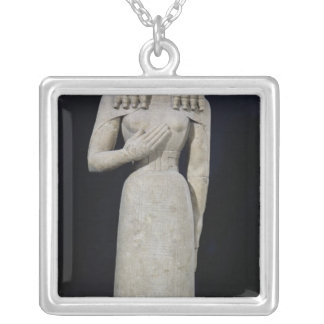 Female statue, known as the Auxerre Goddess Silver Plated Necklace