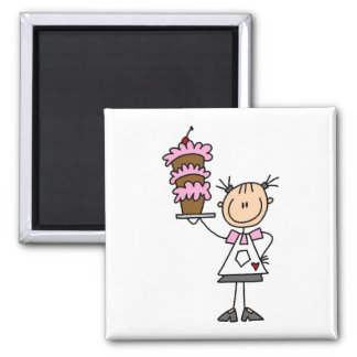 Female Stick Figure Baker Tshirts and Gifts Square Magnet