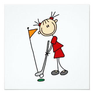 Female Stick Figure Golfer 13 Cm X 13 Cm Square Invitation Card