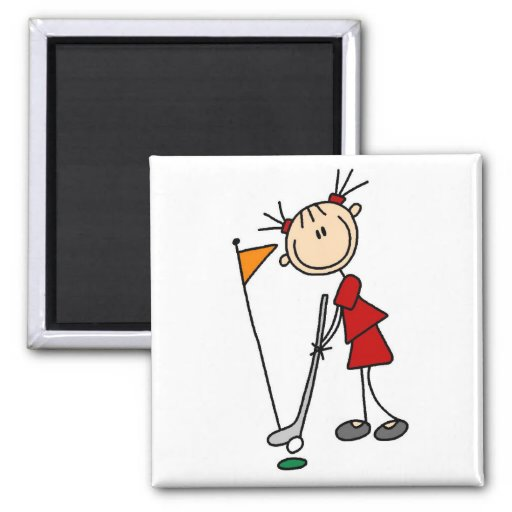 Female Stick Figure Golfer Magnets