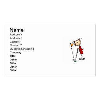 Female Stick Figure Golfer Pack Of Standard Business Cards