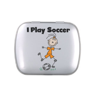 Female Stick Figure I Play Soccer Candy Tins