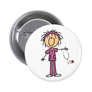 Female Stick Figure Nurse 6 Cm Round Badge