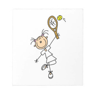 Female Stick Figure Tennis Player Notepad