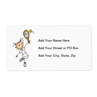 Female Stick Figure Tennis Player Shipping Label