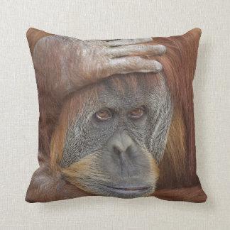 Female Sumatran Orangutan, Pongo pygmaeus Throw Cushions