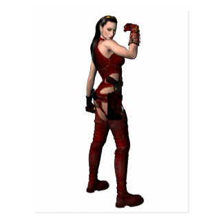 Female Super Heroine In Red Postcard Digital Art