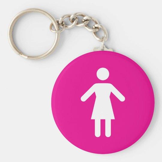 Female symbol basic round button key ring
