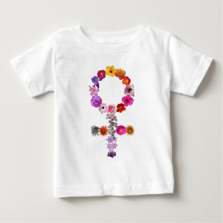 Female symbol made of photographs of flowers baby T-Shirt