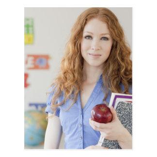 Female teacher at school postcard