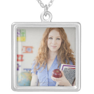 Female teacher at school silver plated necklace