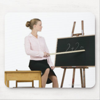 Female Teacher Pointing Ruler at Chalkboard Mouse Pad