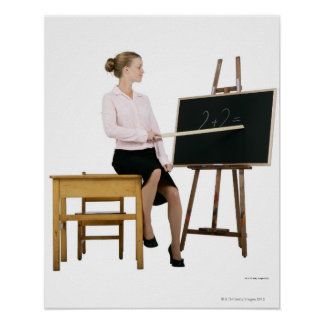 Female Teacher Pointing Ruler at Chalkboard Poster