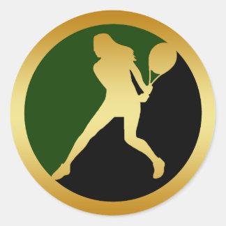 FEMALE TENNIS PLAYER ROUND STICKER
