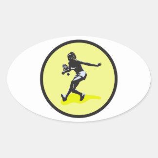 female tennis player oval sticker