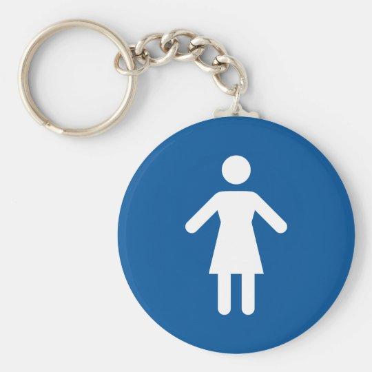 Female toilet sign basic round button key ring