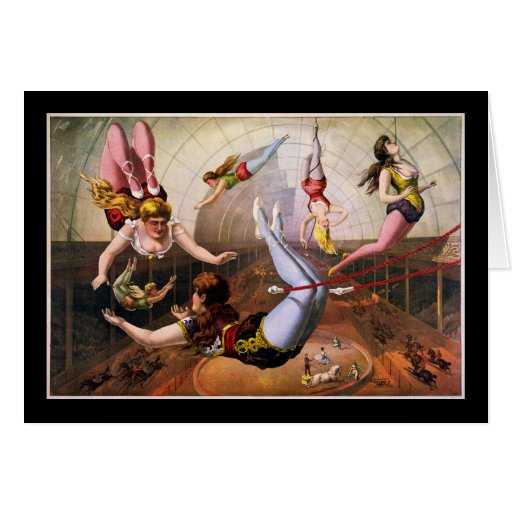 Female trapeze acrobats at circus cards