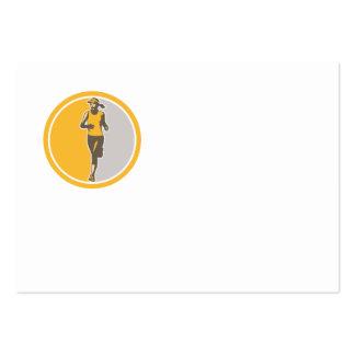 Female Triathlete Marathon Runner Circle Retro Business Card