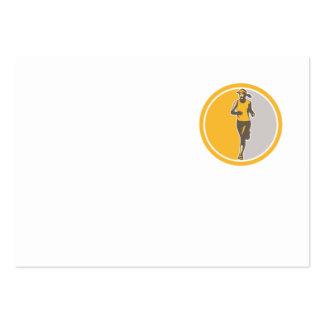 Female Triathlete Marathon Runner Circle Retro Business Card Templates