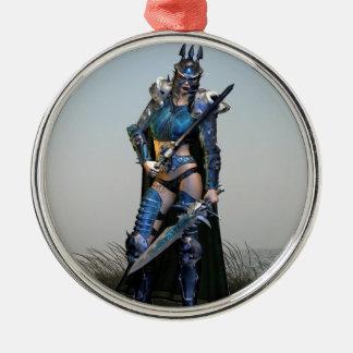 Female Warrior Christmas Ornament