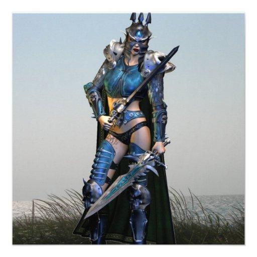 Female Warrior Personalized Invites