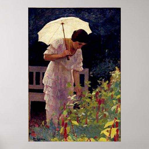 Female with Umbrella Poster