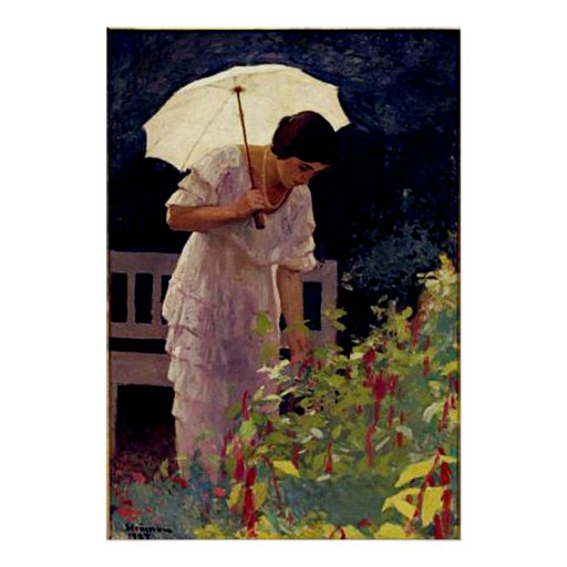 Female with Umbrella Posters