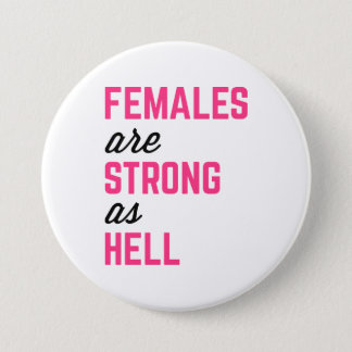 Females Strong Hell Gym Quote 7.5 Cm Round Badge