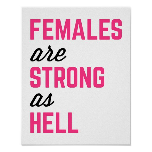Females Strong Hell Gym Quote Poster