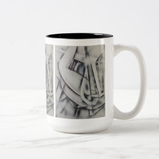 Feminina Black and White Abstract Two-Tone Coffee Mug