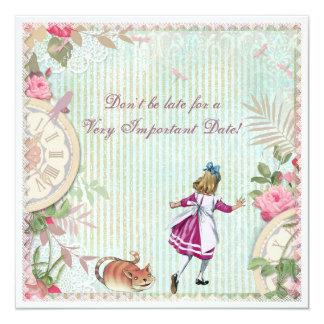 Feminine Alice in Wonderland Shabby Chic Birthday 13 Cm X 13 Cm Square Invitation Card
