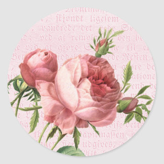 Feminine and beautiful vintage rose pink round sticker