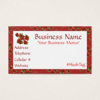 Feminine Barn Red Floral Business Card