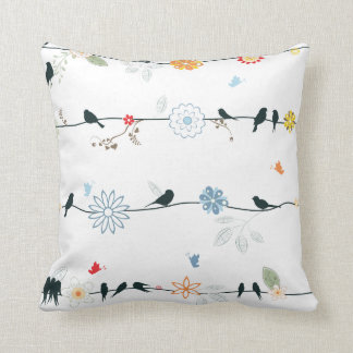 Feminine Birds on a Wire and Flowers Cushion