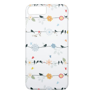 Feminine Birds on a Wire and Flowers iPhone 8 Plus/7 Plus Case
