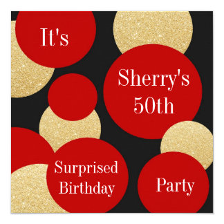 Feminine Chic Red Glitter Gold Birthday Party Card