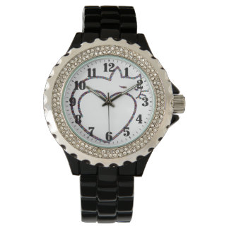 """Feminine clock with crystals """"Love cats """" Wrist Watches"""