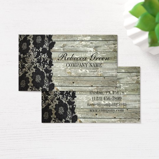 Feminine country chic black lace barn wood business