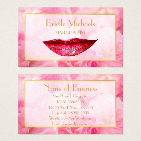 Feminine Deep Pink Sparkle Lips Chic Makeup Artist Business Card