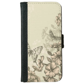 Feminine design with flowers and butterfly iPhone 6 wallet case