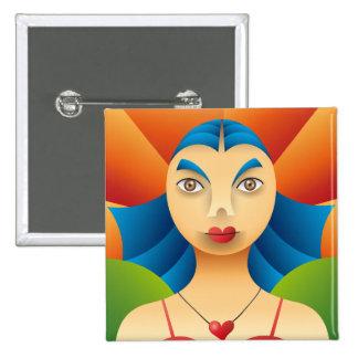 Feminine face 15 cm square badge