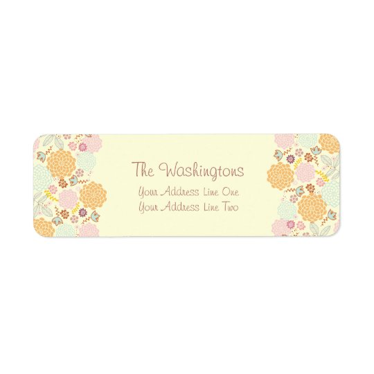 Feminine Fancy Modern Floral Personalised Return Address Label