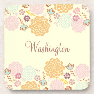 Feminine Fancy Modern Floral Personalized Coaster