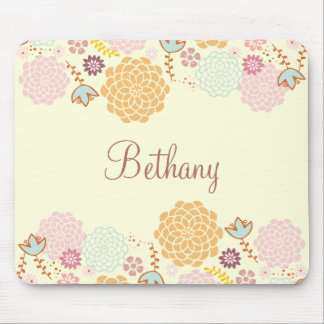 Feminine Fancy Modern Floral Personalized Mouse Mat