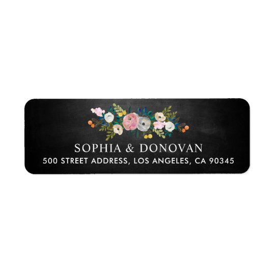 Feminine Floral Garland Chalkboard Return Address