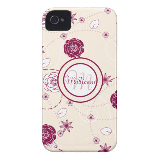 Feminine Floral Pattern with Monogram & Name iPhone 4 Case